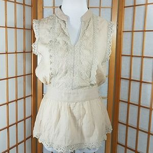 catch my i Tops - Catch My i tan lace panel top with tie at waist